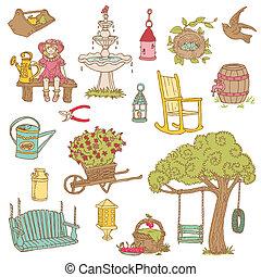 été, jardin, coloré, -, vecteur, conception, album, doodles