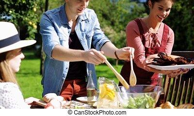 été, jardin, dîner, amis, avoir, heureux