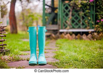 été, jardin, maison, bottes, caoutchouc, clair, fond, menthe
