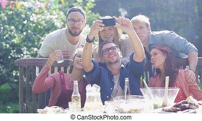été, jardin, selfie, fête, amis, prendre