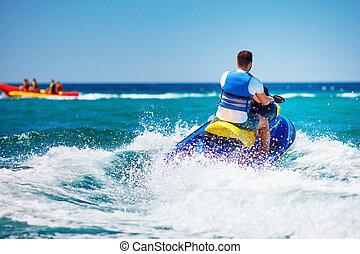 été, jet, jeune, vacances, vague, courant, adulte, pendant, ski, homme