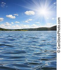 été, lac, à, vagues