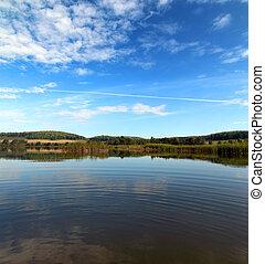 été, lac, paysage