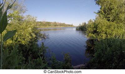 été, lac, paysage.