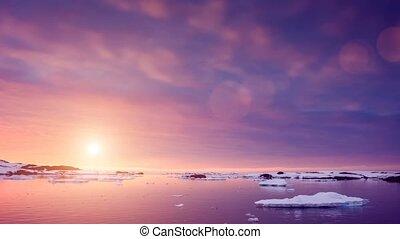 été, lent, métrage, antarctica., mouvement, coucher soleil, 4k