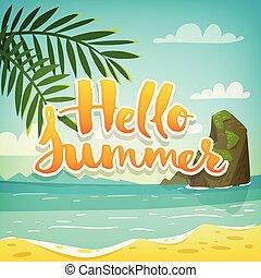 été, lettrage, affiche, motivation, vacances, vecteur, bonjour