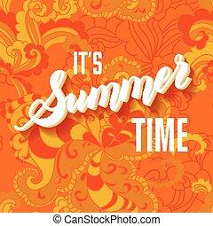 été, lettrage, il, fond, temps, orange