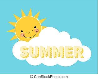 été, lettrage, soleil, derrière, fond, nuage