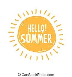 été, lettrage, symbole, soleil, typography., bonjour