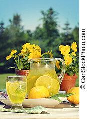 été, limonade, jour, frais