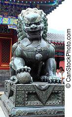 été, lion, dehors, statue, palais