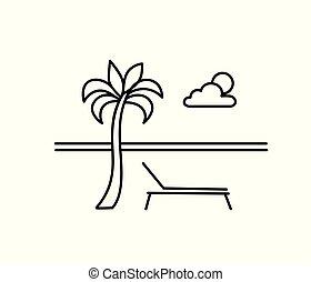 été, longue, délassant, paysage., bord mer, resort., arbre., paume, chaise, vacances, plage, vue