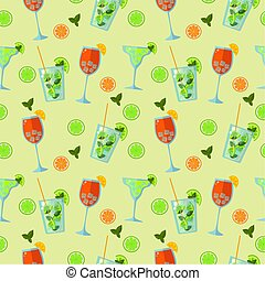 été, low-alcohol, spritz, rigolote, modèle, fond, cocktails., seamless, vert, mojito, aperol