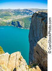 été, lysefjord, jour, norvège, preikestolen, falaise