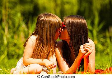 été, mère, fille, leisure., picnic.