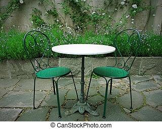 été, magie, chaises, table, jardin