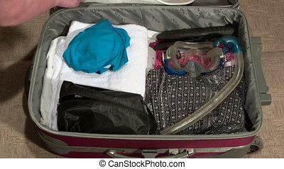été, mains, vacances, emballage, femme, valise