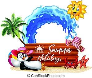 été, manchots, bois, signe, vacances, heureux