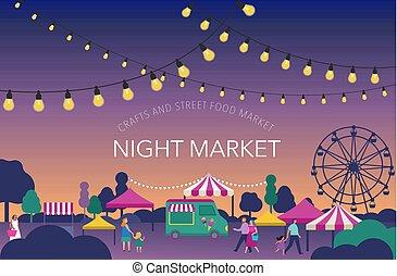 été, marché, nourriture famille, affiche, fest, foire, festival, rue, nuit, bannière
