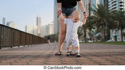 été, marche, enfant, jeune, promenade, mère, long