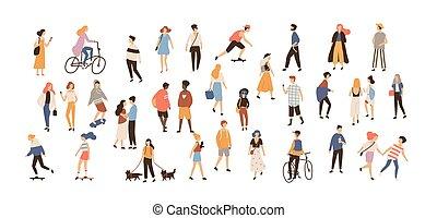 été, marche, extérieur, foule, gens, femme, groupez activités, -, isolé, arrière-plan., équitation, blanc, plat, chiens, caractères, dessin animé, illustration., exécuter, vélo, skateboarding., vecteur, mâle