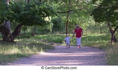 été, marche, petit-fils, parc, ruelle, grand-mère, long