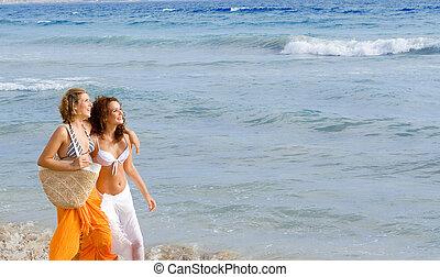 été, marche, printemps, jeune, vacances, coupure, long, plage, ou, femmes