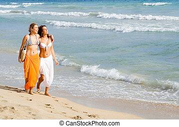 été, marche, printemps, jeune, vacances, coupure, rivage, long, plage, ou, femmes