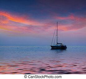 été, marine, à, luxe, yacht., levers de soleil
