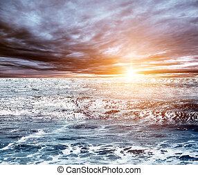 été, marine, levers de soleil