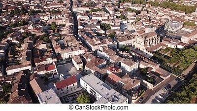 été, marmande, négligence, bâtiment, ville, petit, gothique, francais, vue, église, dame, aérien, cityscape