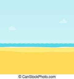 été, mer, illustration, exotique, vecteur, fond, plage