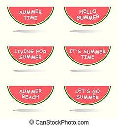 été, message, couper, pastèque, illustration