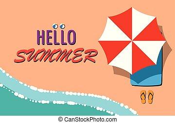 été, message, plage, bonjour