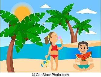 été, mignon, vacances, jouer, gai, pastèque, plage., jeune, glace, manger, crème, gosses, enfants