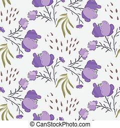 été, modèle, clair, violet, pavot, fleurs
