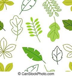 été, modèle, leaves., seamless, stylisé, feuillage vert, printemps, floral, ou