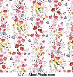 été, modèle, seamless, clair, floral, fleurs