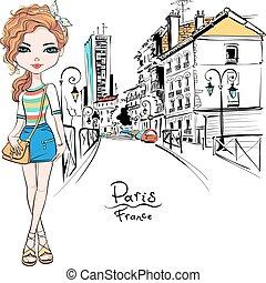 été, mode, paris, vecteur, girl, vêtements