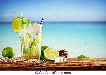 été, mojito, plage, boissons