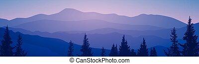 été, montagne, ciel, bois, forêt, paysage