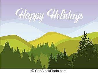 été, montagne, ciel, bois, forêt, vacances, paysage, heureux
