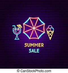 été, néon, vente, étiquette