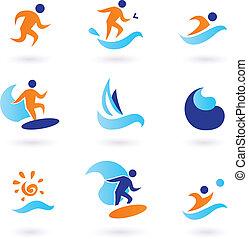 été, natation, et, surfer, icônes, -, bleu, orange
