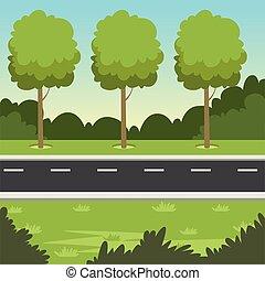été, nature, arbres, illustration, vecteur, vert, route, fond, paysage