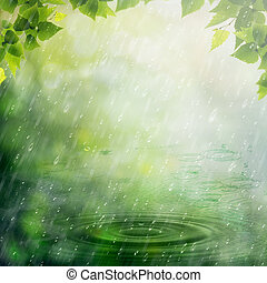 été, naturel, résumé, arrière-plans, conception, rain., ton