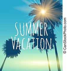 été, naturel, vacances, illustration, vecteur, fond