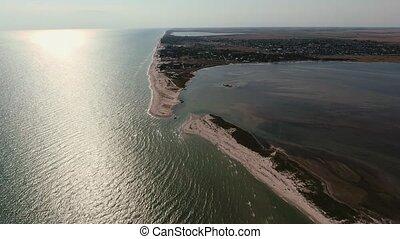 été, noir, aérien, ligne, coup, mer, ensoleillé, sable, jour, semi-circulaire, banc