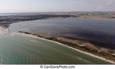 été, noir, aérien, raie, coup, mer, ensoleillé, sable, bandy, jour, banc