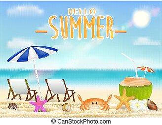 été, noix coco, délassant, boisson, chaise, plage, bonjour